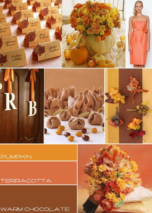 autumn wedding theme, autumn wedding colourIdeas, Wedding Themes, Romantic Wedding, Colors Schemes, Wedding Colors, Autumn Weddings, Fall Weddings, Places Cards, Wedding Colours