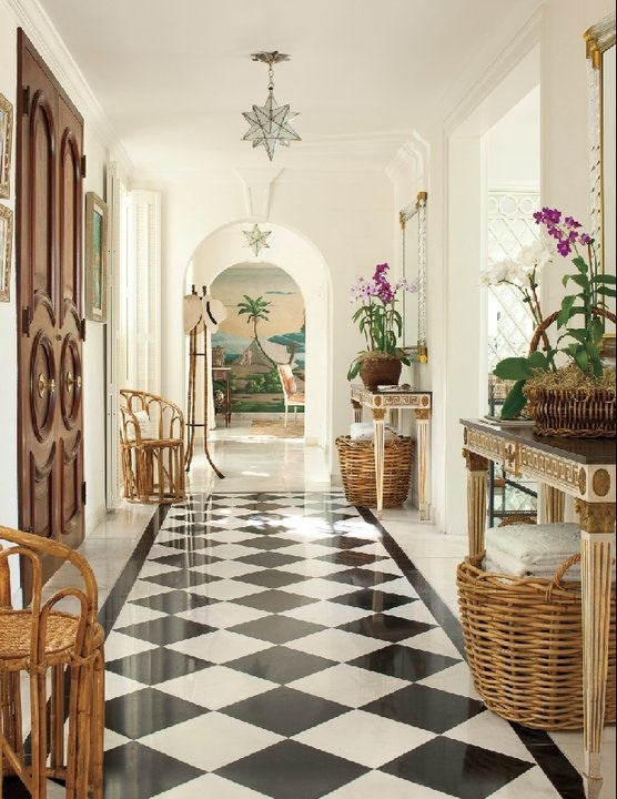 black and white tile floor. Simply wonderful  love the doors and black white tile floor symmetrical furniture 77 best Black tiles images on Pinterest Homes