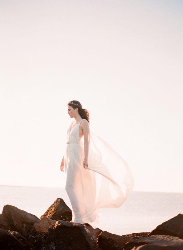 beach wedding goddess gown - photo by jose villa