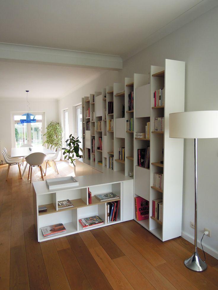biblioth que sur mesure en mdf laqu et placage ch ne biblioth ques sur mesure pinterest. Black Bedroom Furniture Sets. Home Design Ideas