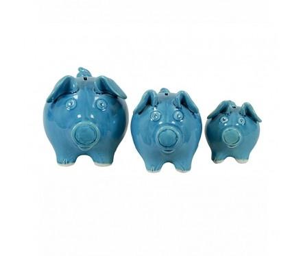Blue Piggy Banks...set of 3.Little Pigs, Blue Piggies, Adorable Sets, Piggies Banks Sets, Products, Pennies Saving