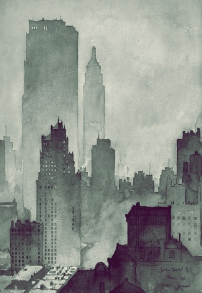 Very lovely New York City watercolor (1936). Artist signature at bottom right; illegible. Anybody have info?