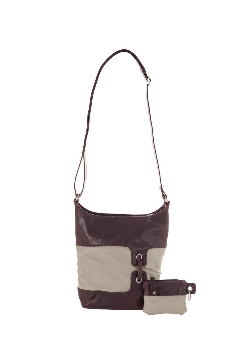 Frauentaschen :: BONJOUR :: B8 | ZWEI  Taschen Handtasche :: Nylon :: Materialmix :: braun