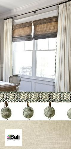 "Drapery Inspiration: Because dining rooms usually have little fabric in them, curtains can add much needed softness. Light, neutral off-white draperies paired with natural woven wood shades are an opportunity to add softness, color and pattern. Bali Blinds Drapery from the Dover collection, in the color Snowfall (1157) with 1 ½"" globe fringe in Mingled Morning Blue (4014). Bali Natural Woven Wood Shades in the color Cabo Placid.  Free swatches available at BaliBlinds.com"
