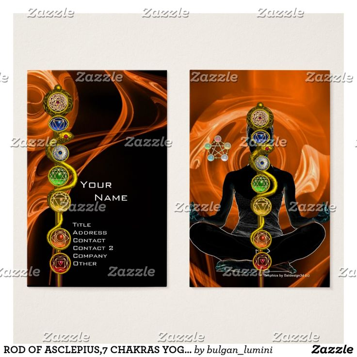 ROD OF ASCLEPIUS,7 CHAKRAS YOGA LOTUS POSE Orange Business Card #medical #healing #healer #energy #holistic #meditation