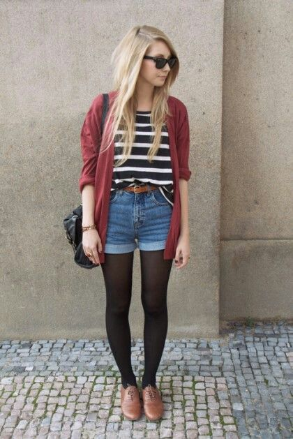 -red cardigan black/white striped shirt brown belt blue shorts black purse black tights ...
