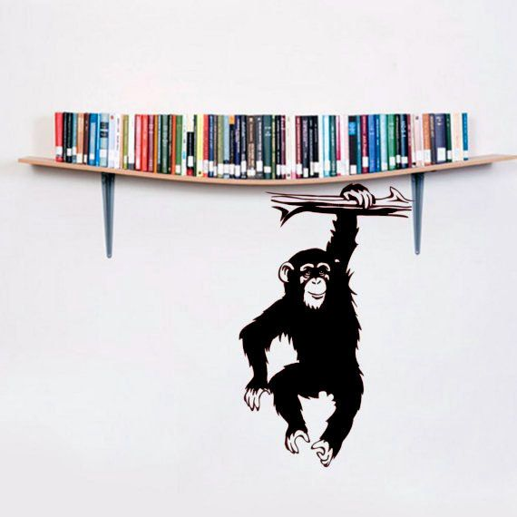 Monkey chimp vinyl wall art decals funny sticker tropical animals jungle mammal home decor