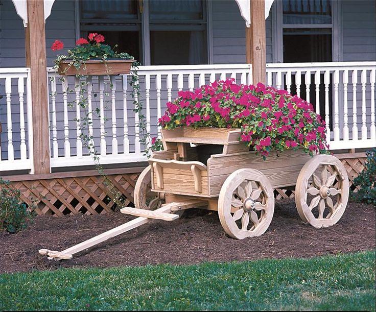 Amish Wooden Buckboard Planter - Large | Old Fashioned Wagons ...
