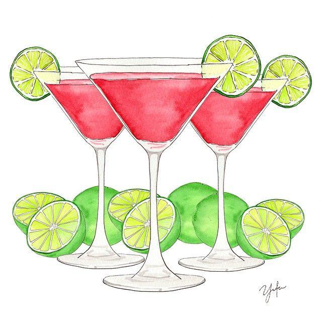 FRIDAY NIGHT COSMOS  { #tgif #nightout #cosmopolitan #coctail #illustartion #watercolor}