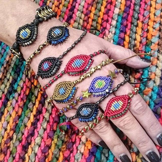 Frolic Stones...evil eye bracelets,  crochet  bracelets