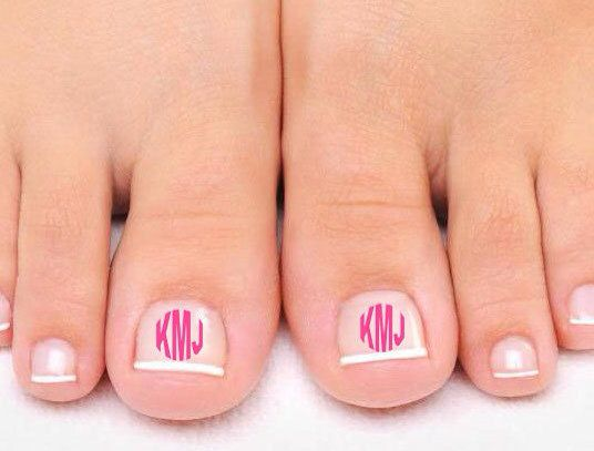 Toe nail monogram decal by IMadeIt3 on Etsy, $6.00