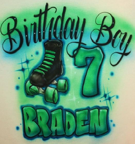SKATE PARTY T SHIRT Hello and welcome to EternalAirbrush!! This is an airbrushed BIRTHDAY BOY t shirt Great for your skate party or any