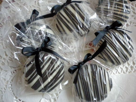 Paris Theme Chocolate Covered Oreos Cookies Black and White Wedding Party Favors Zebra Party Favors Leopard Party Favors. $16.00, via Etsy.