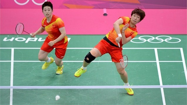 Yu Yang and Wang Xiaoli of China compete in the Women's Doubles.  Olympics!