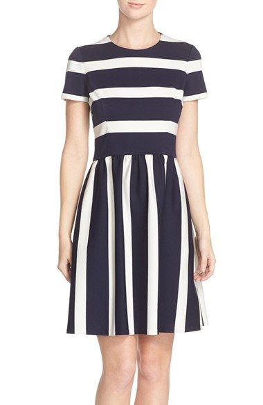 Eliza J Stripe Knit Fit & Flare Dress available at #Nordstrom