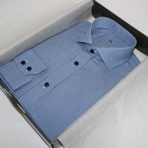 chemise sur mesure à carreaux  Chemise homme  Chemise à carreaux  Chemise bleue  Chemise bas liquette  Chemise col italien  chemise poignet double boutonnage  chemise en coton  chemise simple retor  chemise avec baleines