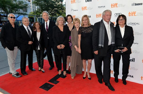 """Thirty years after """"The Big Chill"""" premiered at the Toronto International Film Festival, a special 30th anniversary screening was held at the 2013 edition of the festival, with many cast members and creatives in attendance. From left: Producer Michael Shamberg, writer/director Lawrence Kasdan, music consultant Meg Kasdan, actors Kevin Kline, Glenn Close, Meg Tilly, Mary Kay Place, JoBeth Williams, Tom Berenger and co-writer Barbara Benedek."""