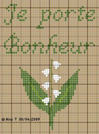 fleur - flower - muguet - point de croix - cross stitch - Blog : http://broderiemimie44.canalblog.com/