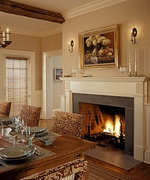 17 best images about dining room with fireplace on for Traditional dining room fireplace