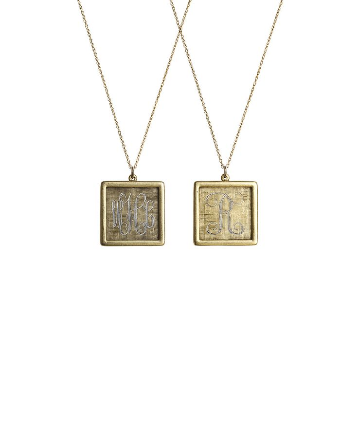25 best square necklaces images on pinterest drop necklace i look at this antiqued gold large square personalized pendant necklace on today aloadofball Image collections