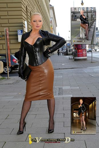 Pin von Rachel Fonseca auf Corsets and Leather  Black leather corset Brown leather skirt und
