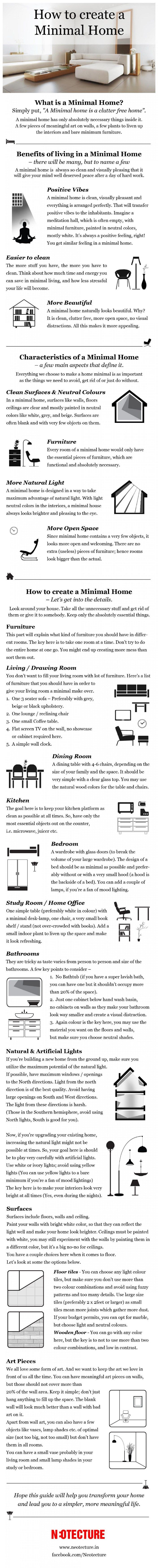 "How to Create a #Minimal Home : Found this informative infographic on Pinterest which features a rather comprehensive guide on creating a minimalistic lifestyle home. The guide defines a minimalistic home as ""clutter free"" and includes various benefits of owning one. Other than that, it also offers tips and useful decorating advice that will definitely […]"