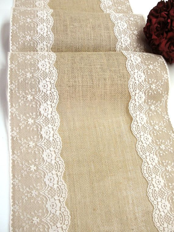 Burlap and lace table runner,country wedding table decor, Handmade in the USA