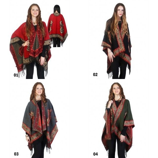 Trendy Paisley Print Cape Wrap with Fringe Edges One Size Fits Most NEW NWT #NorthSouthFashions #Scarf #SpringSummer