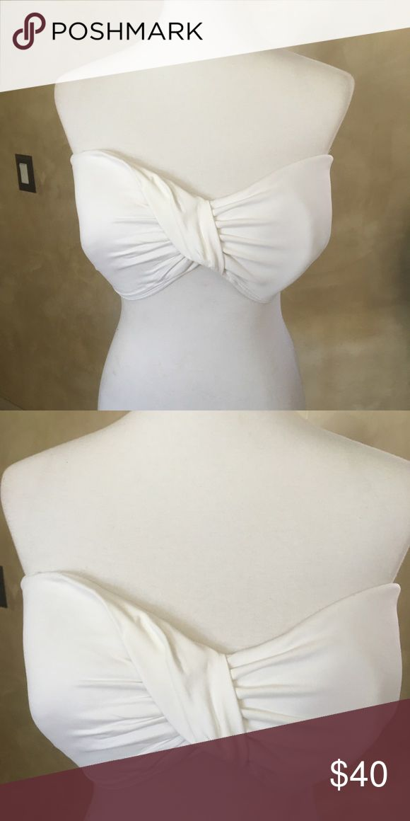 White bandeau bikini Beautiful white bandeau bikini with extra straps assorted bottoms with silver belt White House Black Market Swim Bikinis