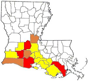 Distribution of Cajun French in Louisiana. White = <0.5% of the parish's population speaks Cajun at home. Yellow = 0.5-1.0%. Brown = 1.0-2.0%. Red = >2.0%.