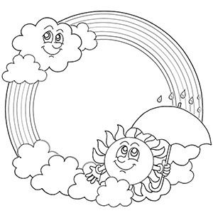 Rainbow and Sun Coloring Page
