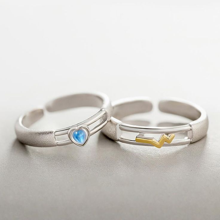 Heart Beat Korean Style Personalized Statement Couple Rings Etsy Ring Gift Couple Rings Rings