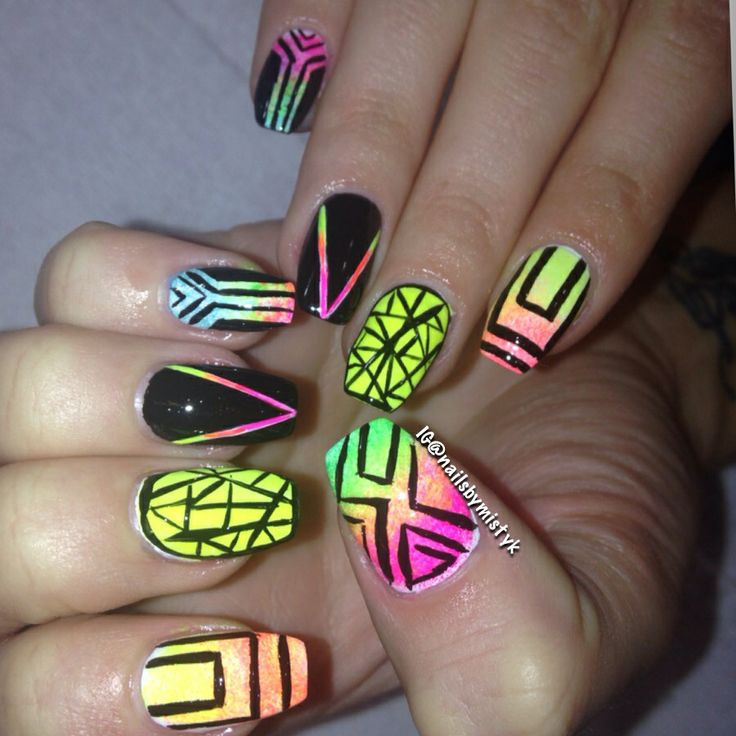 427 best my nail art work images on pinterest christmas nails fun neon nails black and neon nail art prinsesfo Choice Image