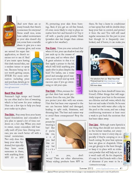 Summer Beauty Tip - Skin, Hair & Makeup. Beat the Heat! Tips for skin, hair & makeup.