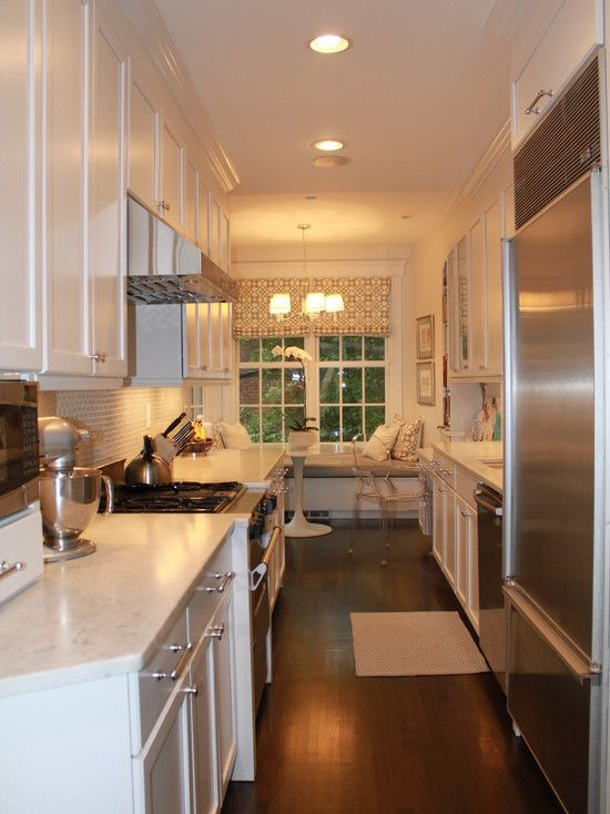 17 best images about galley kitchen nook on pinterest for Galley kitchen with breakfast nook