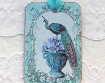 Tags Peacock Gift Hang Bridal Shower Tea Party Favor Bird Turquoise Lilac Hydrangea Wedding Wish Tag Vintage Urn Set of 6 Handmade