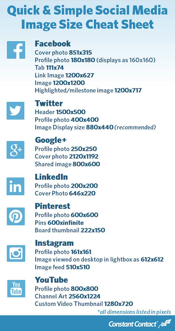 Always Upload In the Correct Size With This Handy Social Media Cheat Sheet.