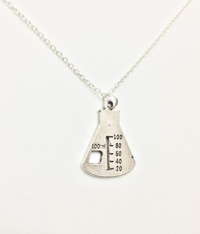 Beautiful Simplistic Erlenmeyer Flask Beaker Necklace!