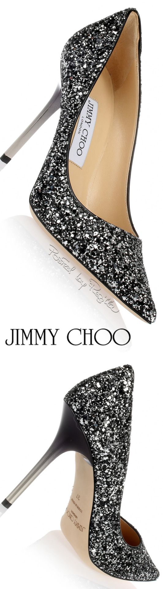 Jimmy Choo ~ Silver Sequinned Black Pump w Slim Metal Heels