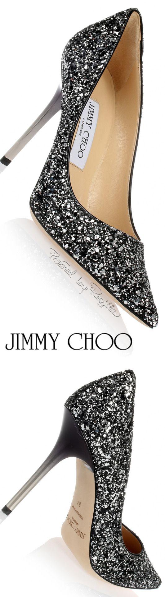 Jimmy Choo ~ Silver Sequinned Black Pump w Slim Metal Heels