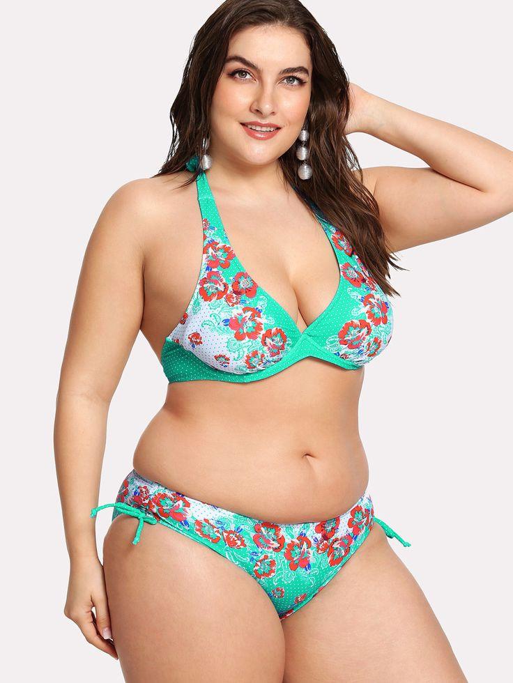 Floral Polka Dot Bikini Set -SheIn(Sheinside)