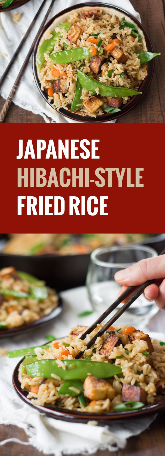 Crispy fried rice and stir-fried veggies are seasoned up with sake-soy sauce and served with crispy tofu bacon to make this Japanese-inspired vegan delight.