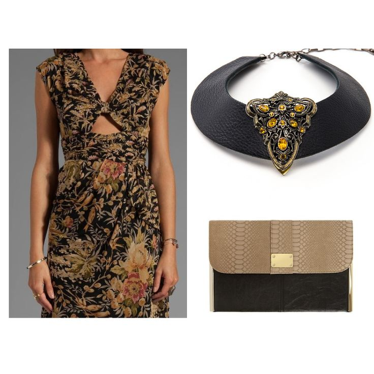 Black leather collar with amber dress clip - perfect neutral.