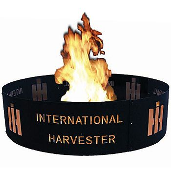 "International Harvester Fire Ring | ShopCaseIH.com. It's the ideal way to relax after a long day – a nice roaring fire under the stars. Keep that fire safely contained within the International Harvester Fire Ring. This big 36""-diameter black-finish fire ring is made of solid steel and stands 8"" high. Fire ring has ""International Harvester"" and the HI logo printed in red around the exterior. Assembly is required, but it'll be worth it."
