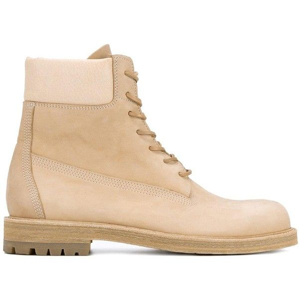 Hender Scheme industrial lace-up boots (18.330 UYU) ❤ liked on Polyvore featuring men's fashion, men's shoes, men's boots, nude, mens leather boots, mens lace up boots, mens leather lace up shoes, mens round toe shoes and mens lace up shoes