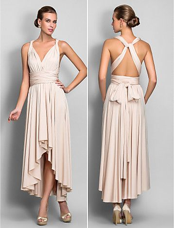 [XmasSale]Bridesmaid Dress Asymmetrical Jersey Sheath Column Convertible Dress (633752) - USD $ 94.99