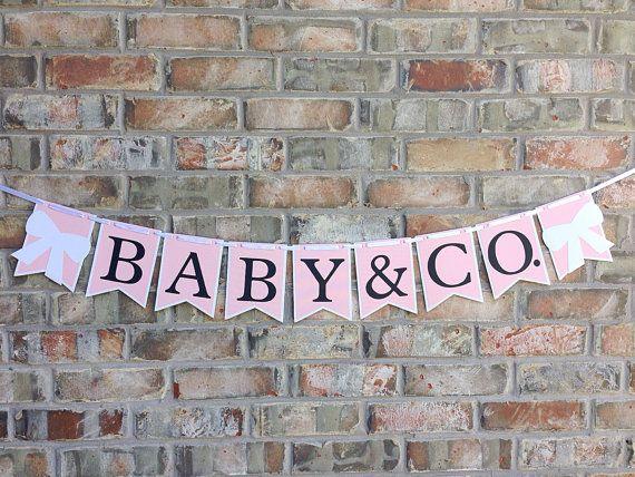 NUEVO Banner de Tiffany ~ bebé y Co. ~ Rosa y blanco ~ bandera de proa ~ tema Tiffany ducha ~ su una chica ~ la novia & Co ~ cumpleaños ~ desayuno con diamantes ~ Audrey