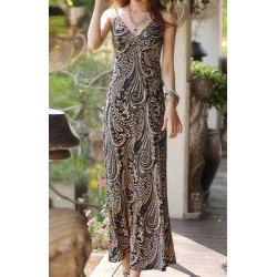 Maxi στυλ μποέμ V-Λαιμός Έντυπα Εξώπλατο φόρεμα γυναικών | TwinkleDeals.com