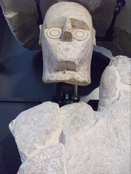 The Giants of Monte Prama are a group of 32 (or 40) statues with a height of up to 2.5 m, found in 1974 near Cabras, in the province of Oristano. They depict warriors, archers, wrestlers, models of nuraghe and boxers with shield and armed glove. They date to around the 10th-8th centuries BC.