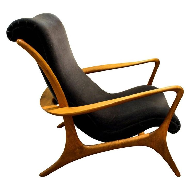 Vladimir Kagan Sculpted Walnut Contour Chair, 1950s | 1stdibs.com